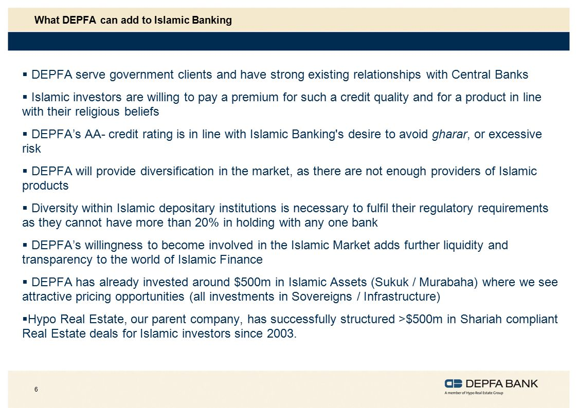 What DEPFA can add to Islamic Banking