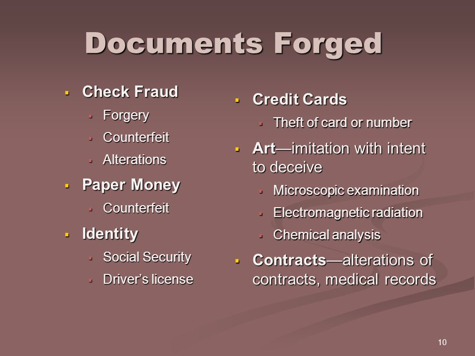 Documents Forged Check Fraud Credit Cards