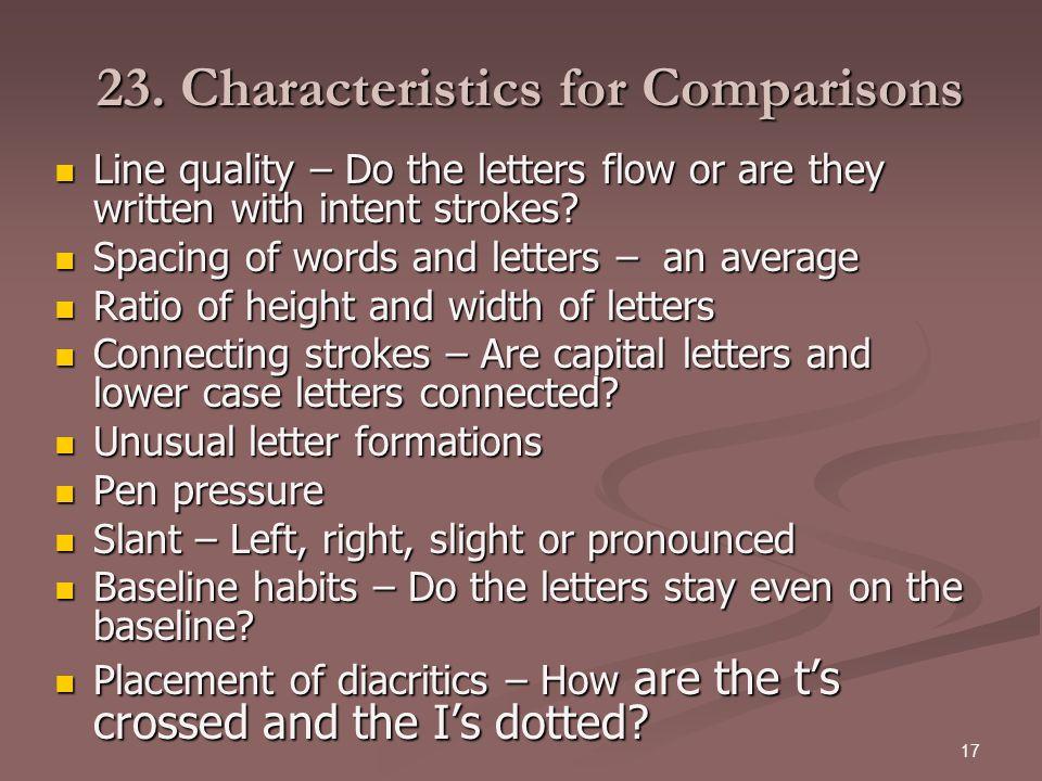 23. Characteristics for Comparisons
