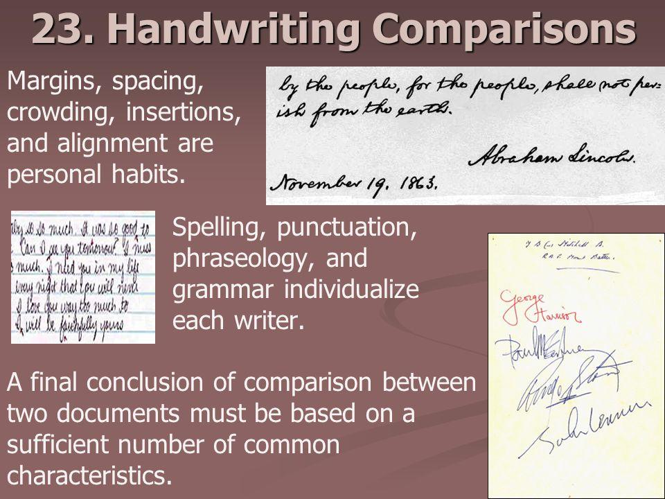 23. Handwriting Comparisons