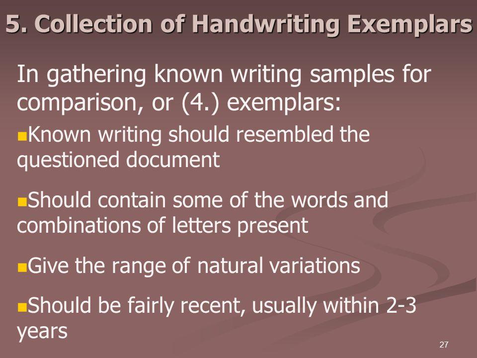 5. Collection of Handwriting Exemplars