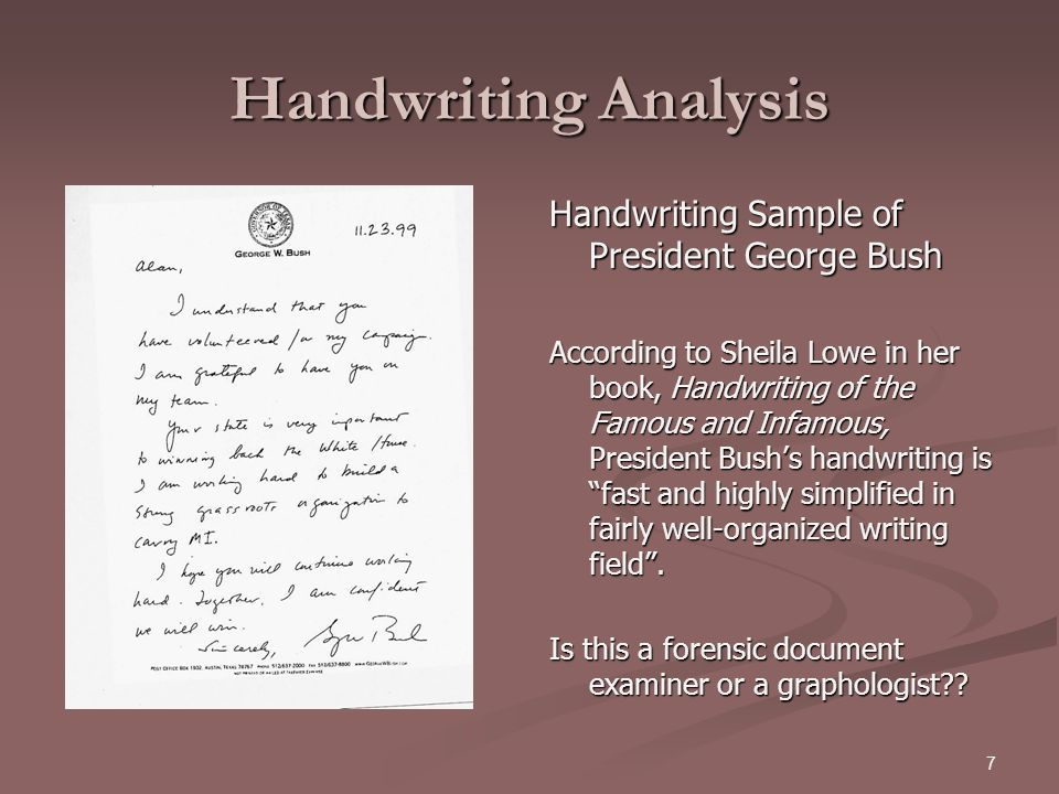 Handwriting Analysis Handwriting Sample of President George Bush