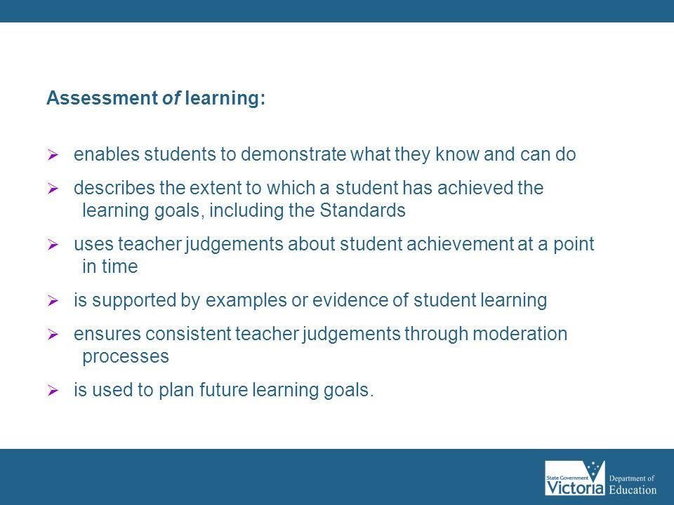 Assessment of learning: