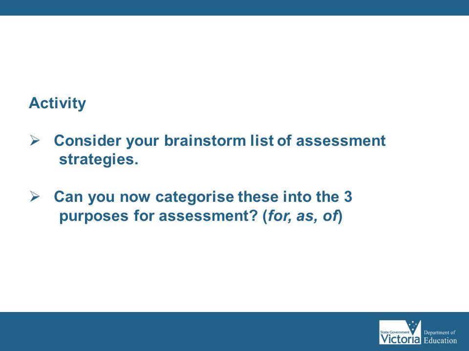 Consider your brainstorm list of assessment strategies.