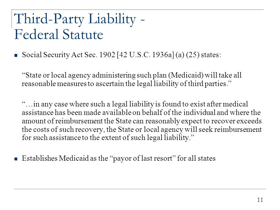 Third Party Liability - Federal Regulations