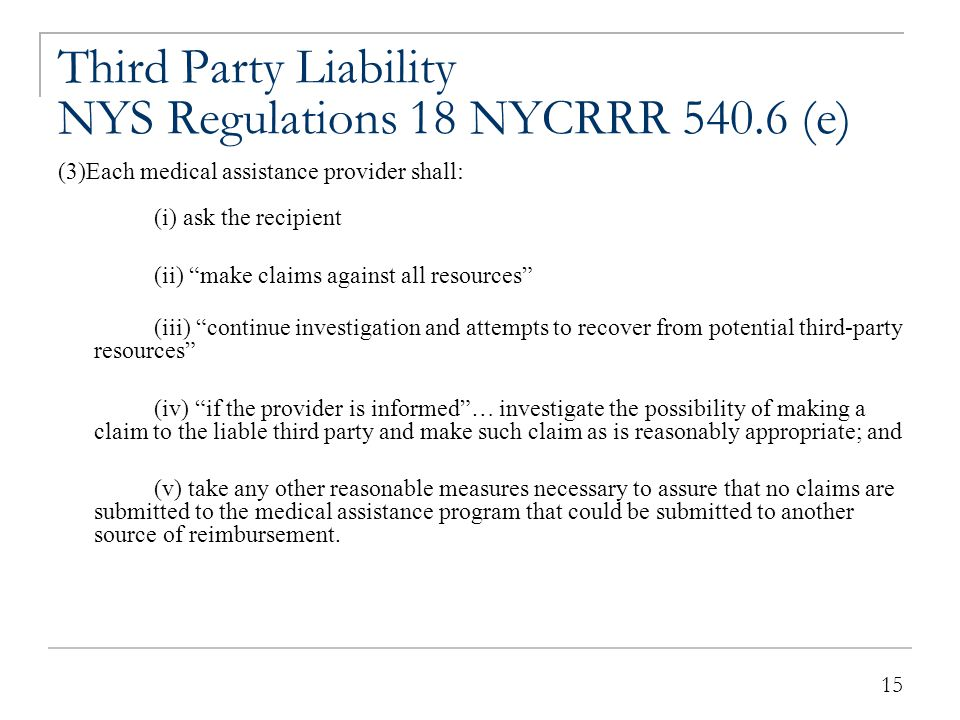 Third-Party Liability NYS Regulations 18 NYCRRR 540.6 (e)