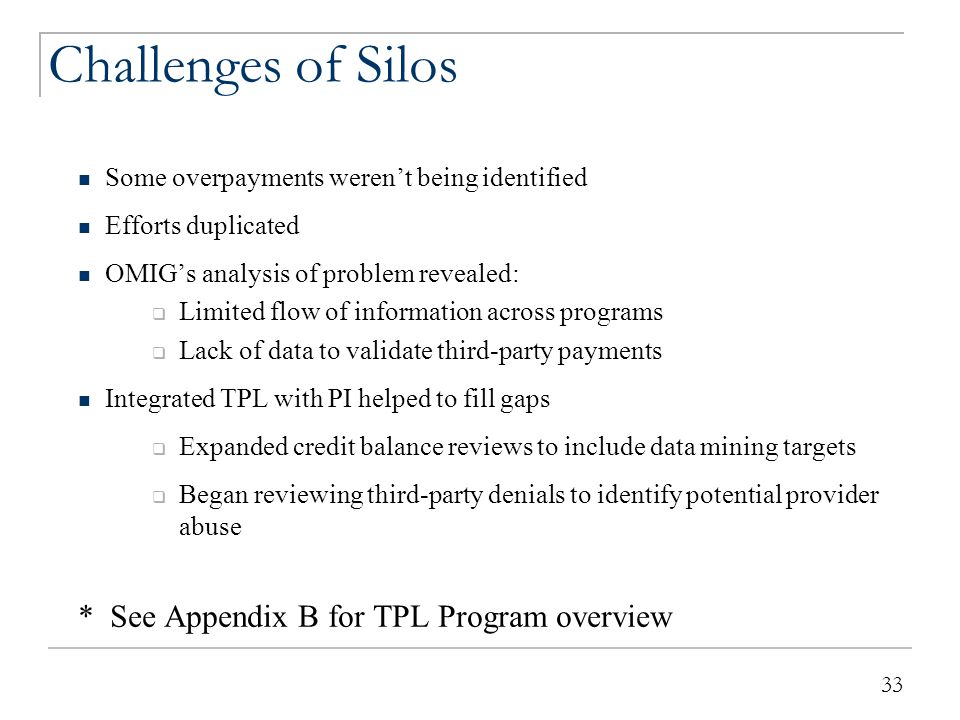 Where We Are Now TPL PI Provider self-disclosure Data matching