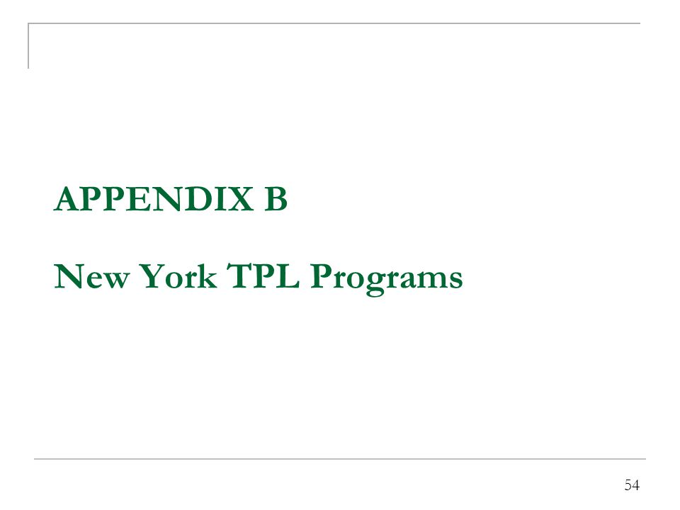 NY TPL Program Overview