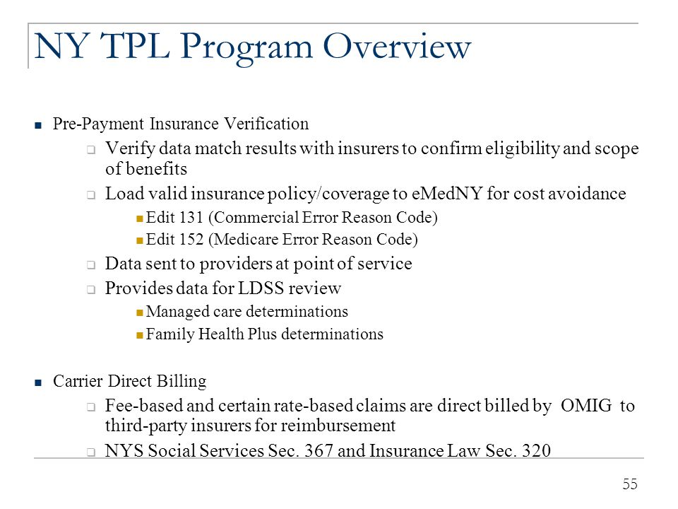 NY TPL Program Overview (continued)