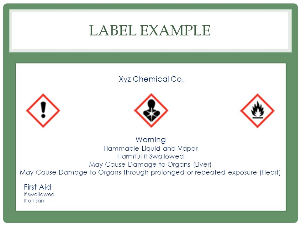 Label Example Xyz Chemical Co. Warning First Aid