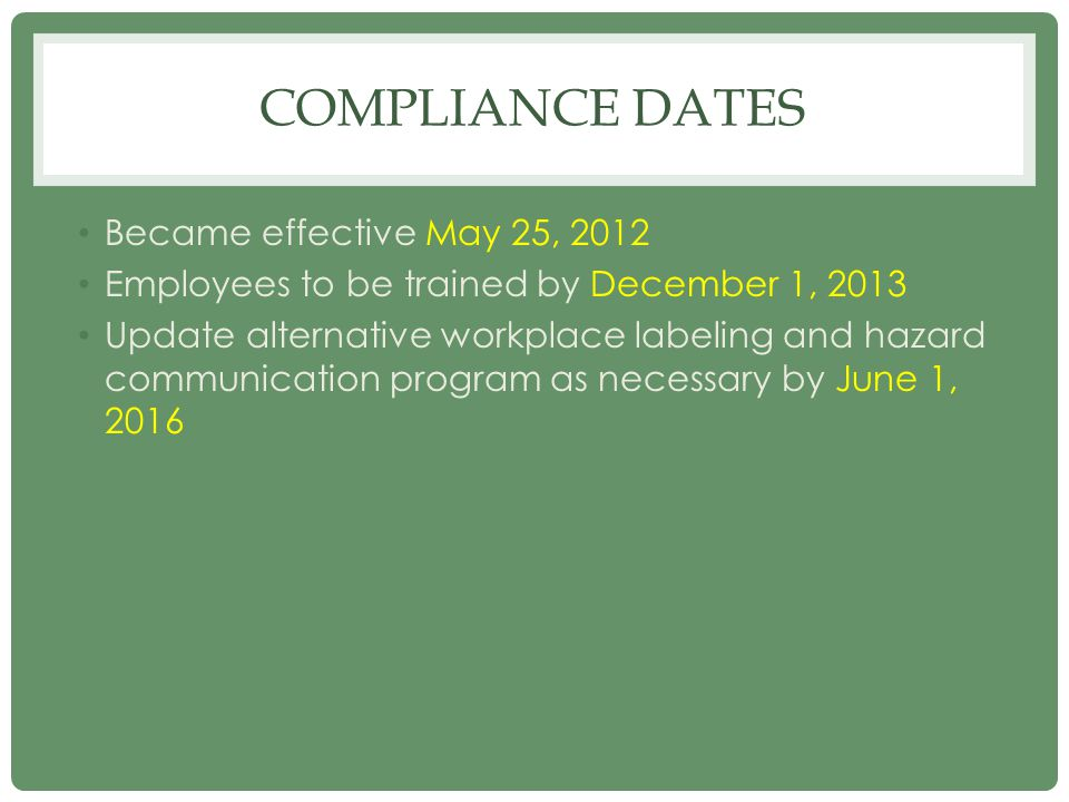 Compliance dates Became effective May 25, 2012