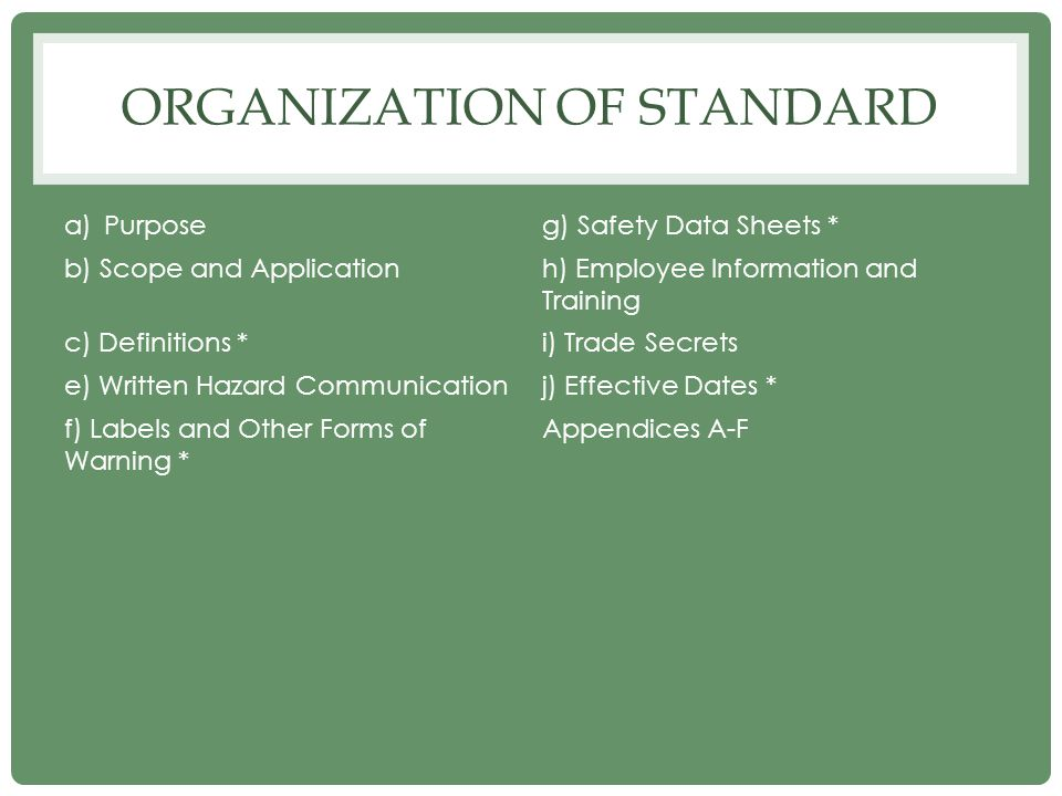 Organization of Standard