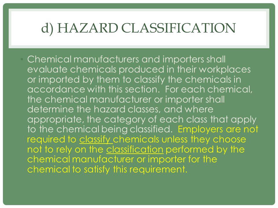 d) Hazard Classification