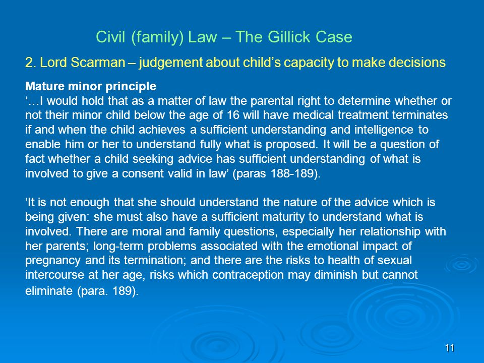 Civil (family) Law – The Gillick Case