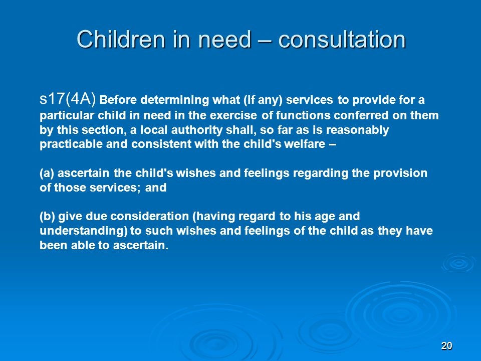 Children in need – consultation