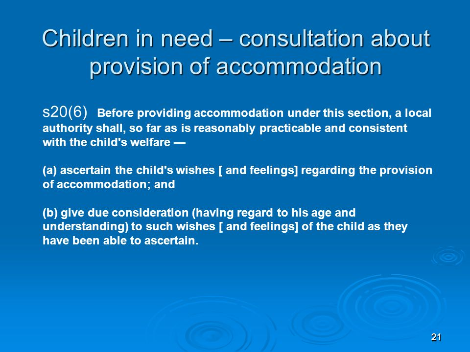 Children in need – consultation about provision of accommodation