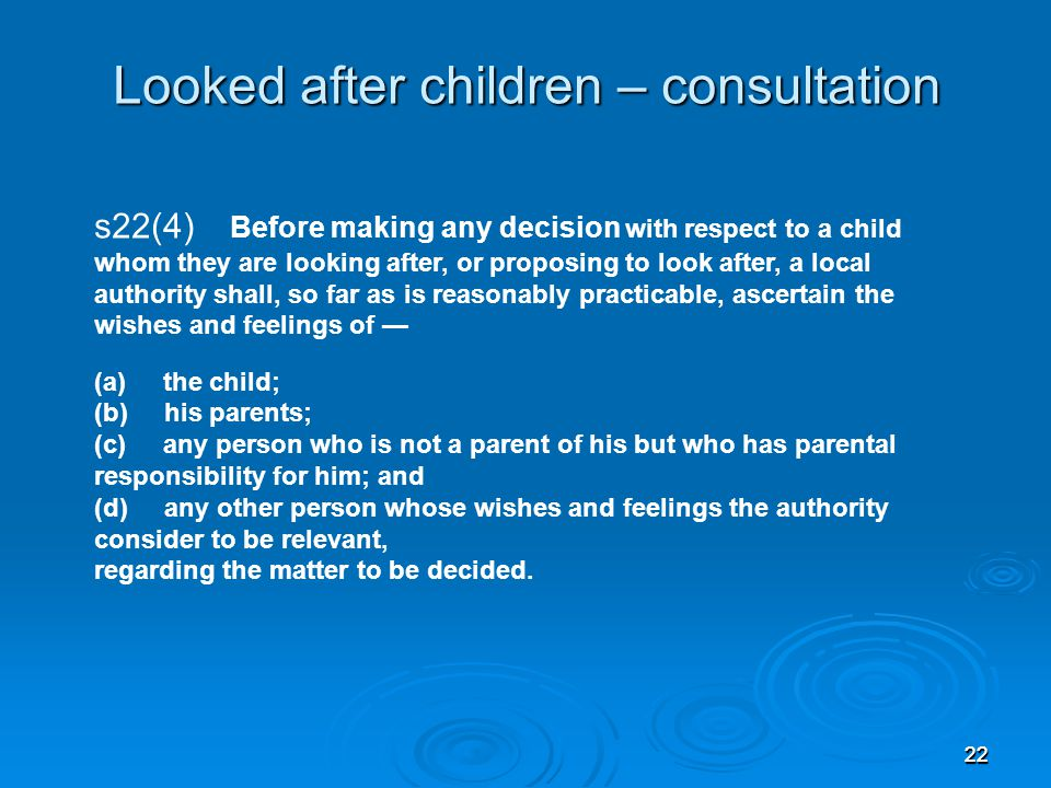 Looked after children – consultation