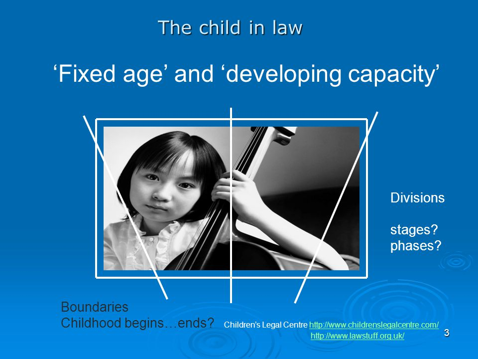 'Fixed age' and 'developing capacity'