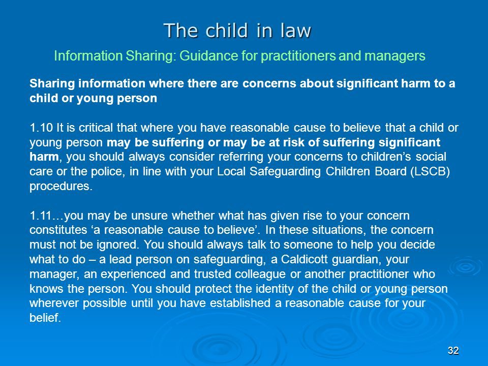 The child in law Information Sharing: Guidance for practitioners and managers.