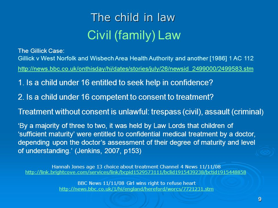 Civil (family) Law The child in law