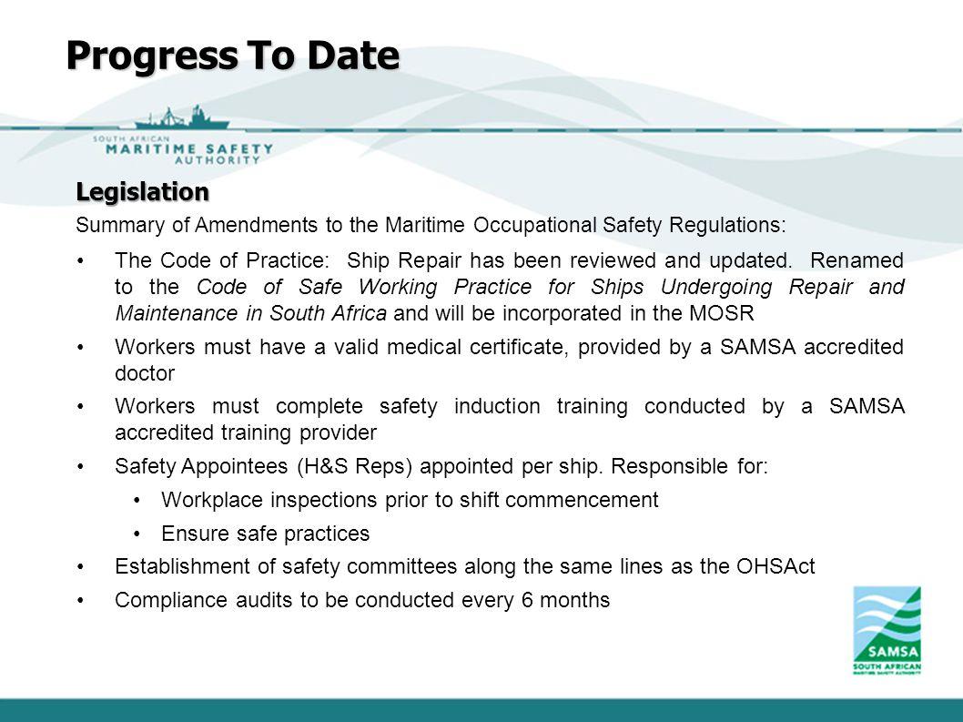 Progress To Date Legislation