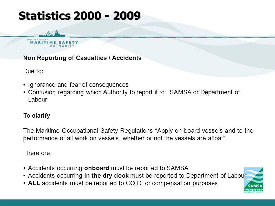 Statistics 2000 - 2009 Non Reporting of Casualties / Accidents Due to: