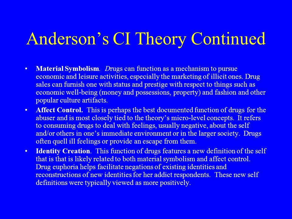 Anderson's CI Theory Continued