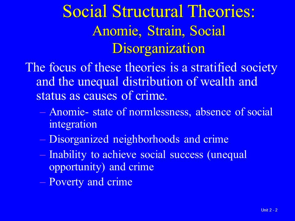 Social Structural Theories: Anomie, Strain, Social Disorganization