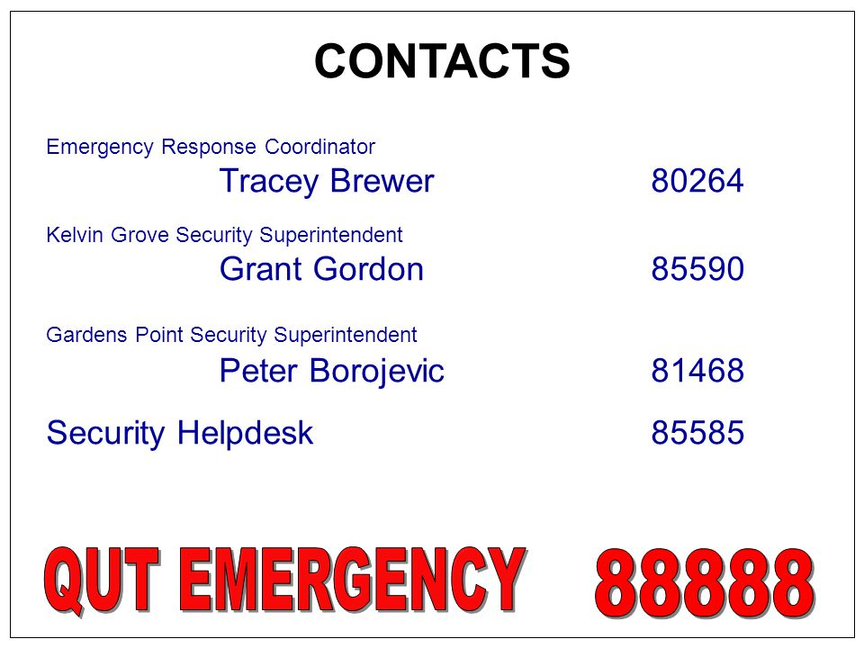 CONTACTS Tracey Brewer 80264 Grant Gordon 85590 Peter Borojevic 81468