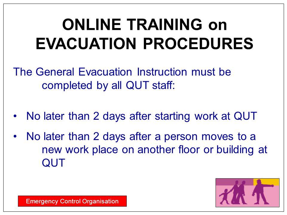 ONLINE TRAINING on EVACUATION PROCEDURES
