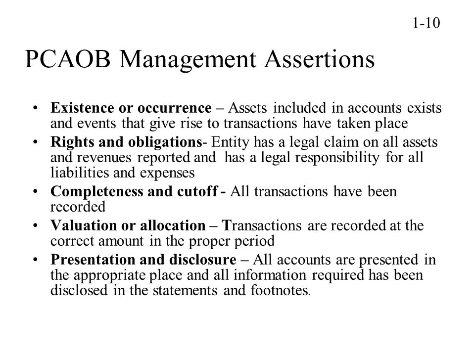 PCAOB Management Assertions