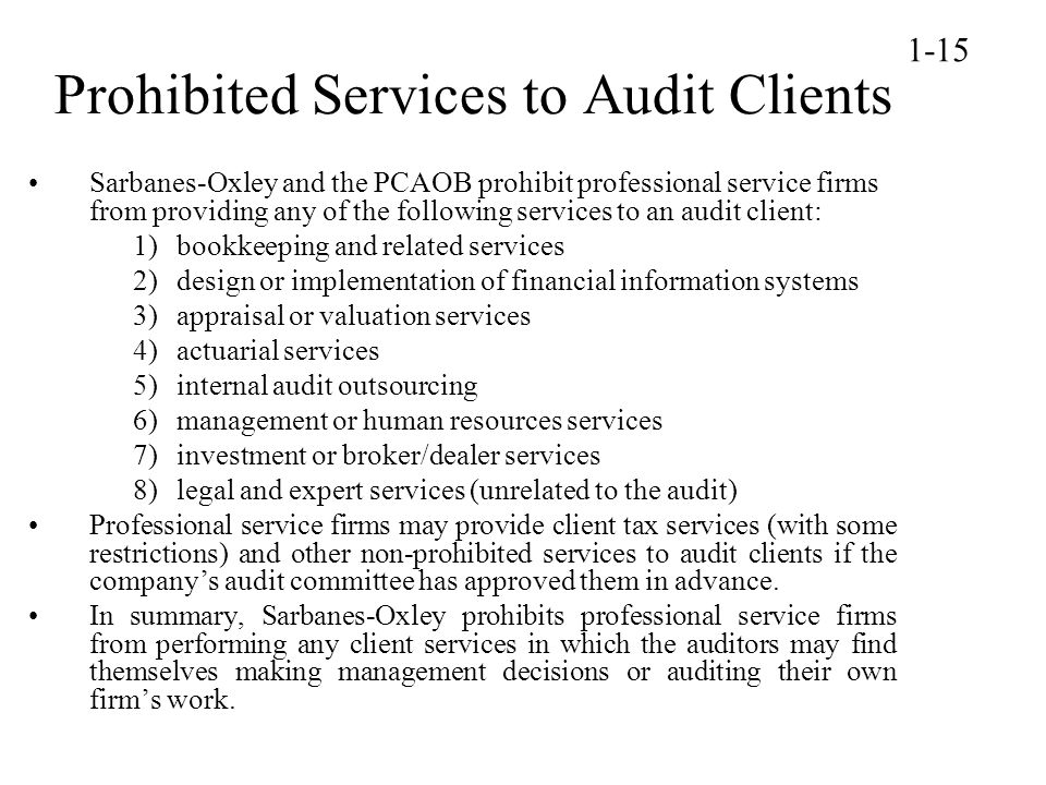 Prohibited Services to Audit Clients