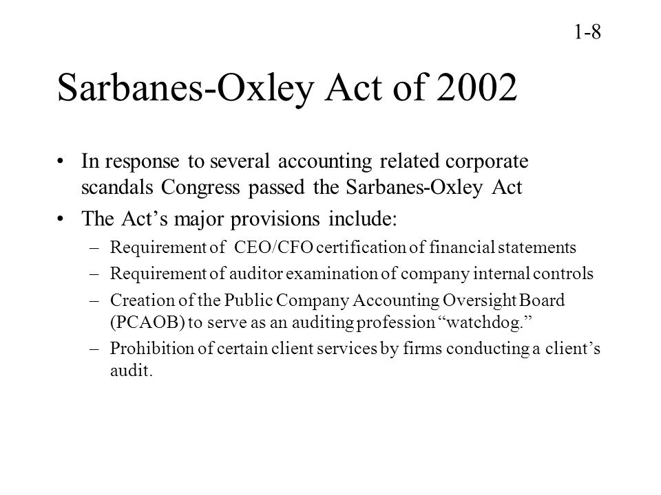 Sarbanes-Oxley Act Of 2002 – SOX