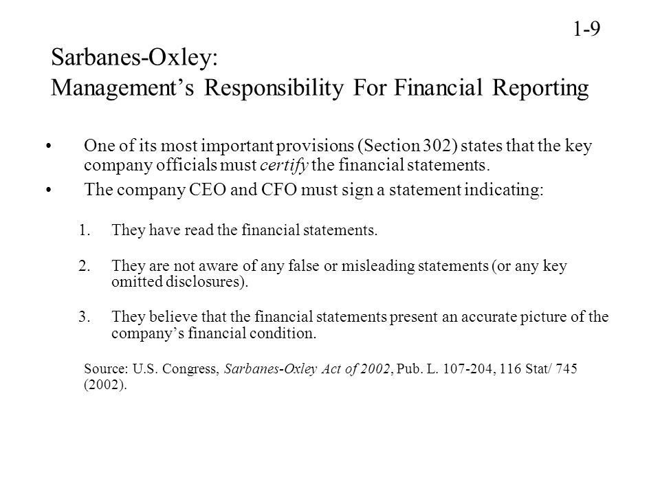 Sarbanes-Oxley: Management's Responsibility For Financial Reporting
