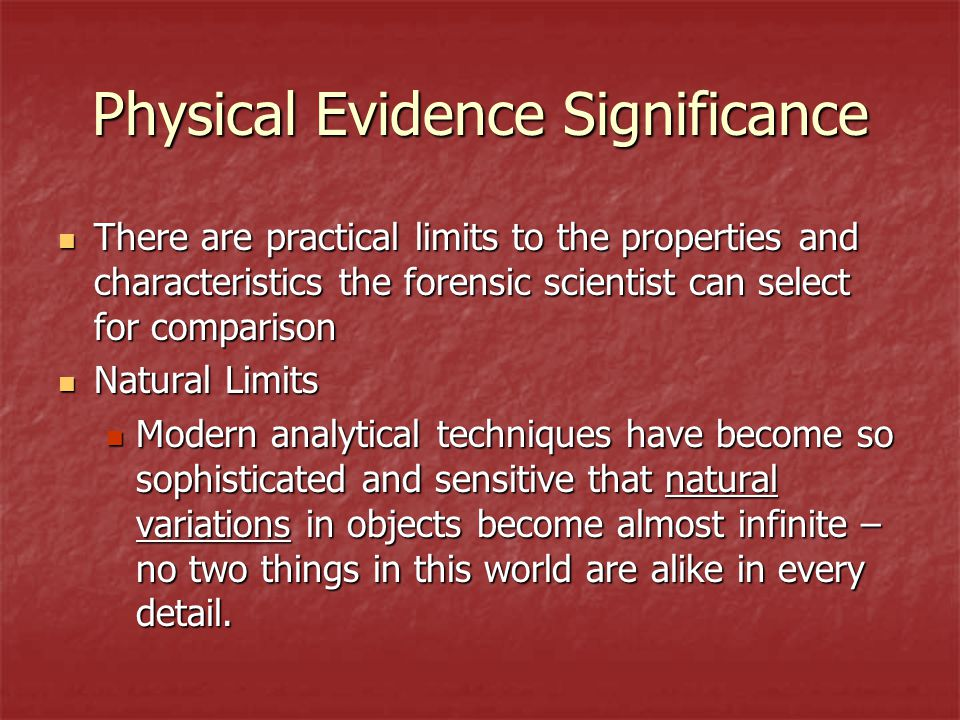 Physical Evidence Significance