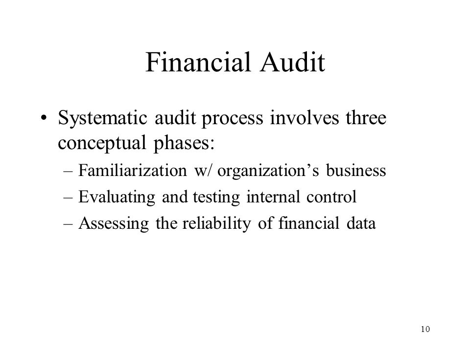 Financial Audit Systematic audit process involves three conceptual phases: Familiarization w/ organization's business.