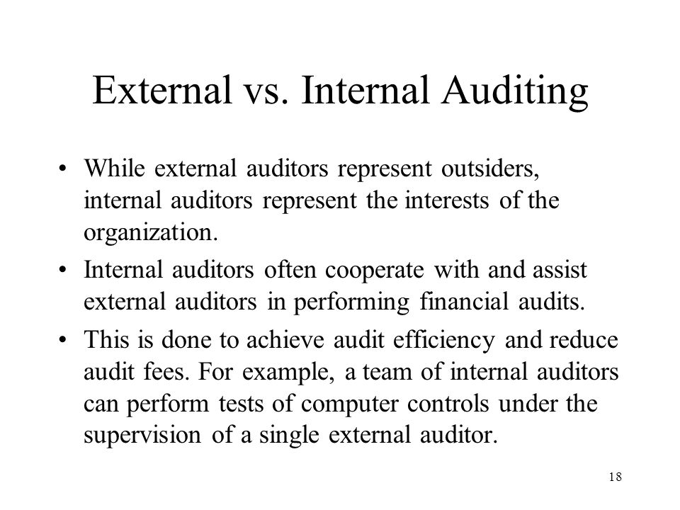 External vs. Internal Auditing