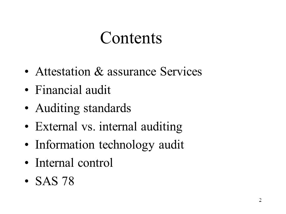 Contents Attestation & assurance Services Financial audit