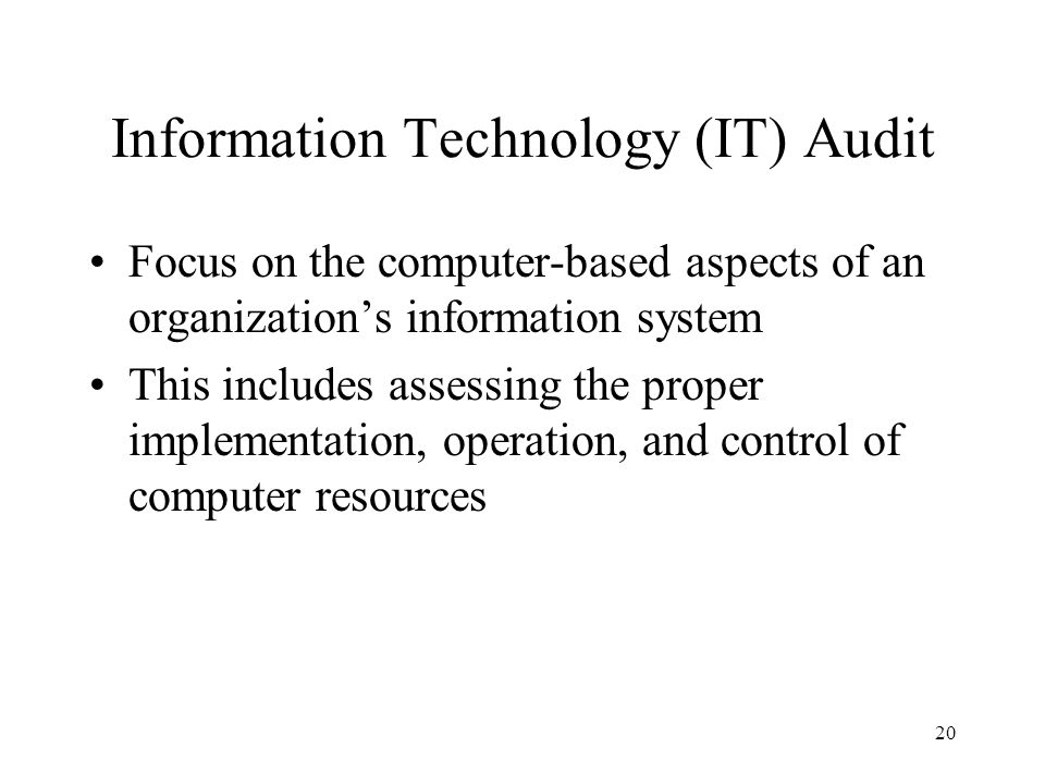 Information Technology (IT) Audit