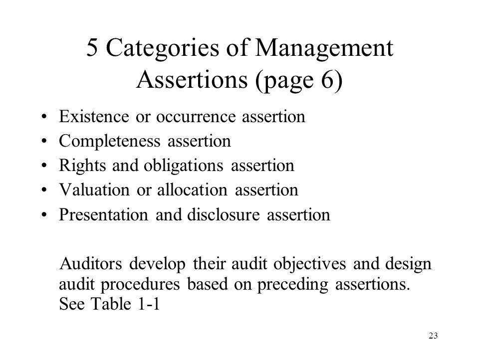 5 Categories of Management Assertions (page 6)