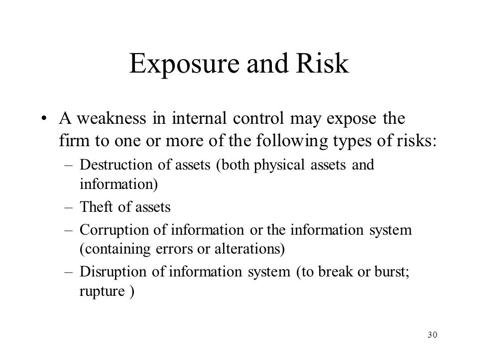 Exposure and Risk A weakness in internal control may expose the firm to one or more of the following types of risks: