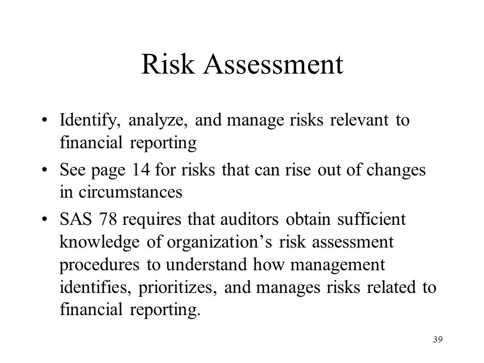 Risk Assessment Identify, analyze, and manage risks relevant to financial reporting.
