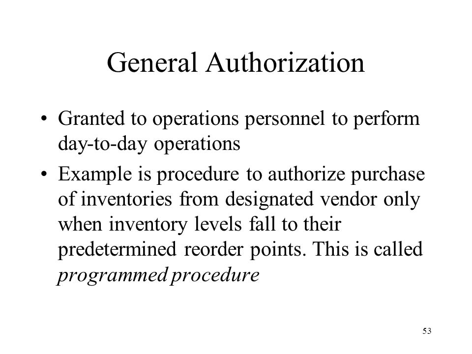 General Authorization
