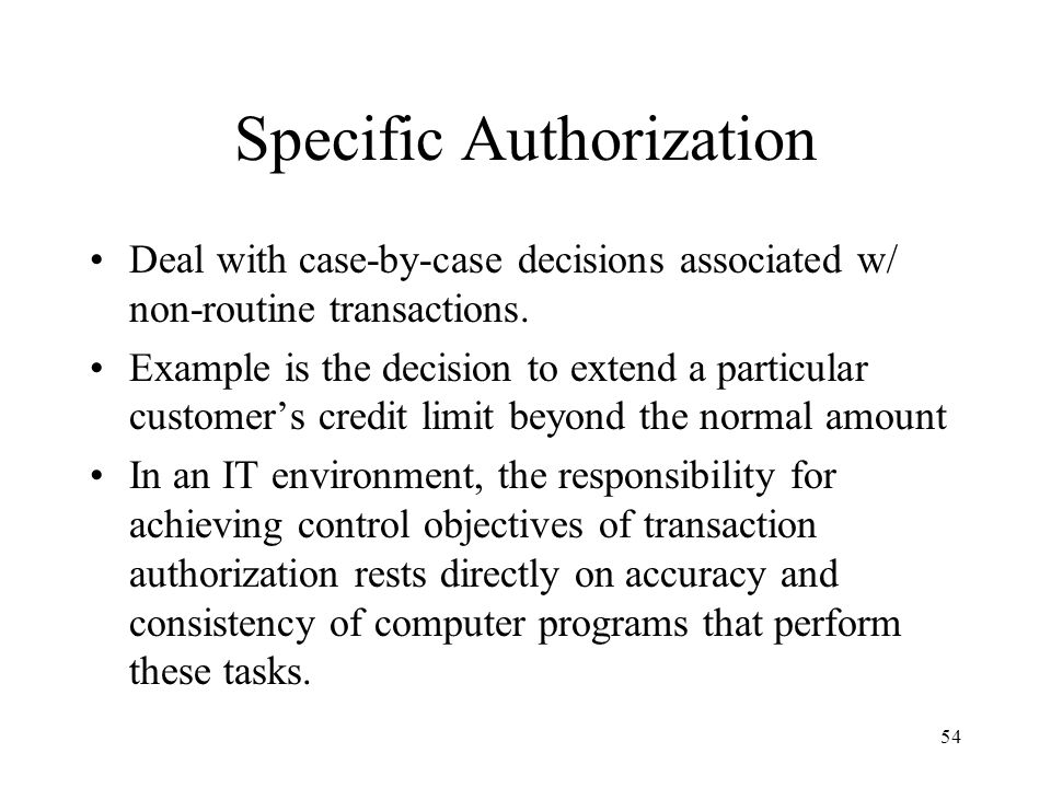 Specific Authorization
