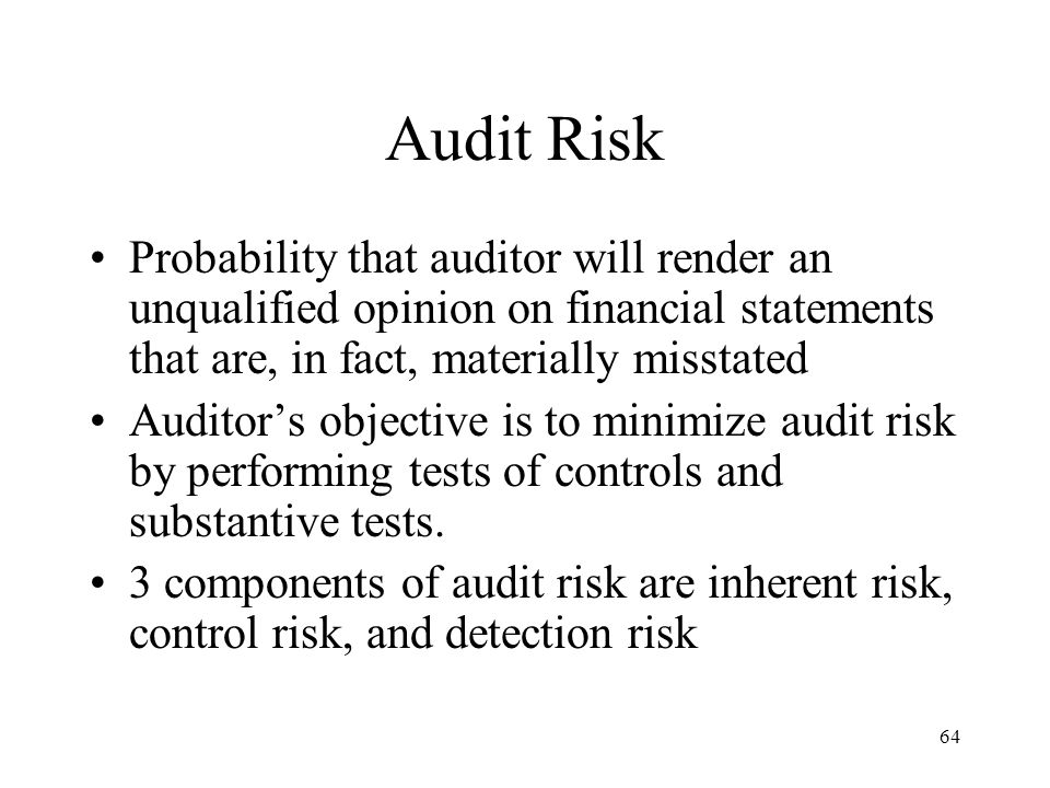 Audit Risk Probability that auditor will render an unqualified opinion on financial statements that are, in fact, materially misstated.