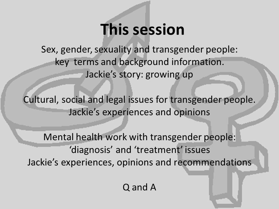 This session Sex, gender, sexuality and transgender people: