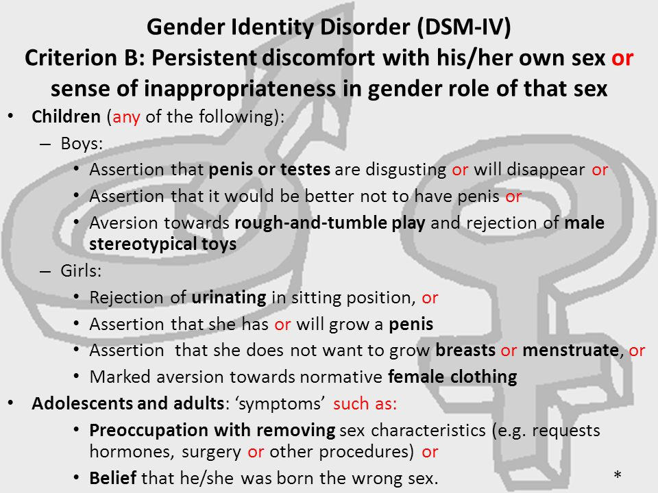 "essay gender identity disorder College essay writing service question description one of the biggest changes from the dsm-iv-tr (apa, 2000) to the dsm-5 (apa, 2013) was with regard to ""gender."
