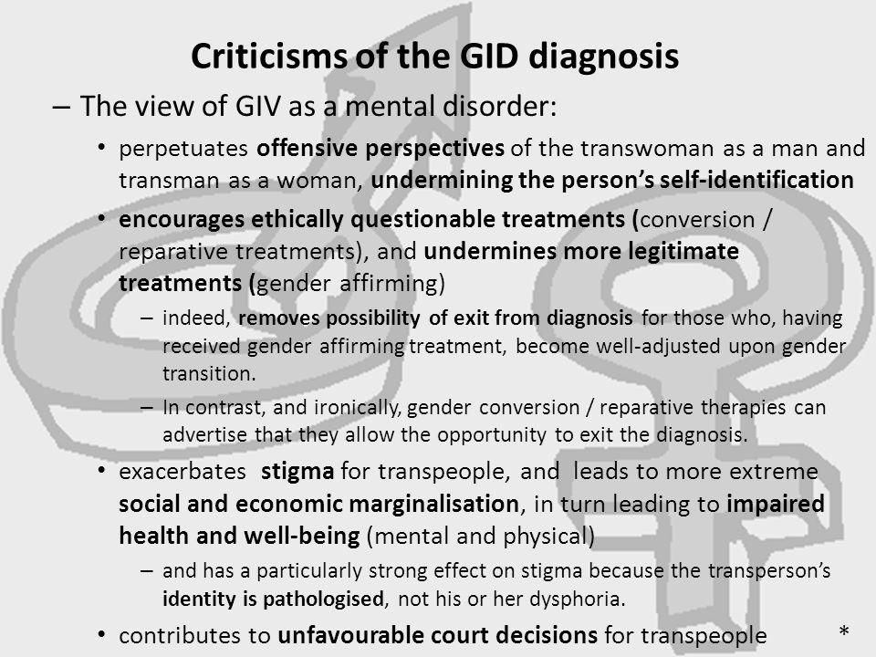 Criticisms of the GID diagnosis