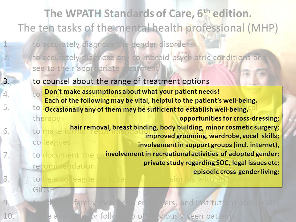The WPATH Standards of Care, 6th edition