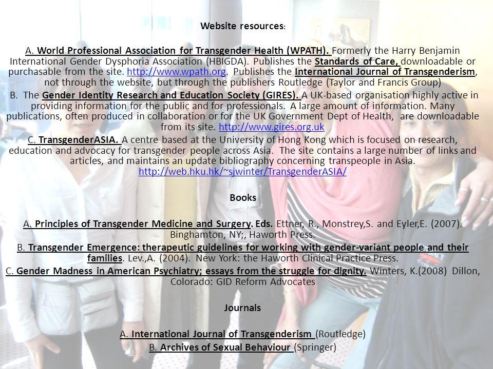 Website resources: Books Journals